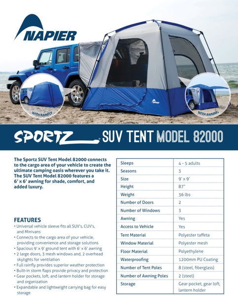 Sportz 82000 SUV Tent Features and Specifications