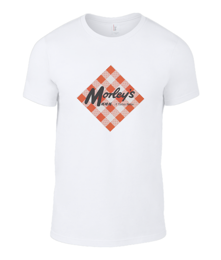 Morley's Classic Diamond White T-Shirt with Morley's Chicken Logo