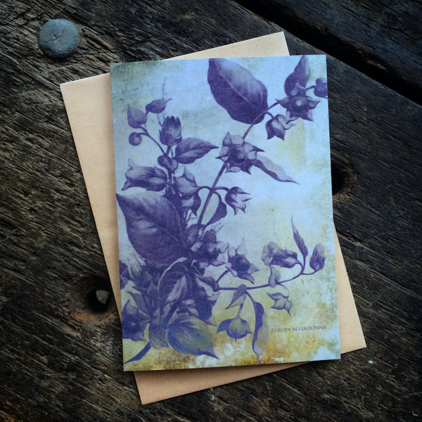 Magical Botanical Poisonous Solanaceae, BellaDonna Witching Luxury greeting card.