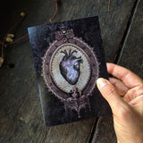 Gothic Romance Dark Anatomical Heart, Luxury Greeting Card.