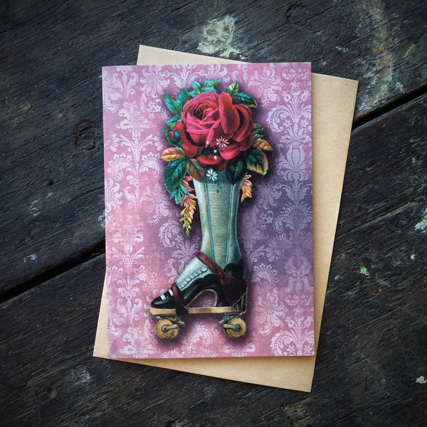 Gothic Romance Boot with Rose Bouquet, Luxury greeting card.