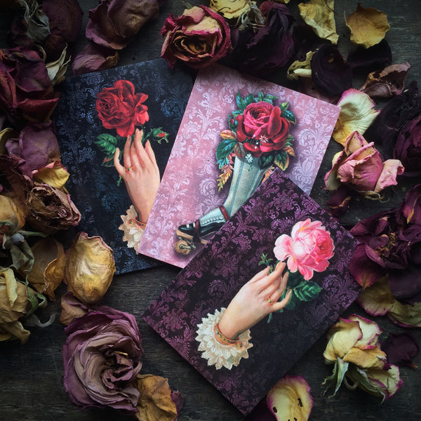 Gothic Romance Floral Rose, Luxury greeting card 3 Pack.