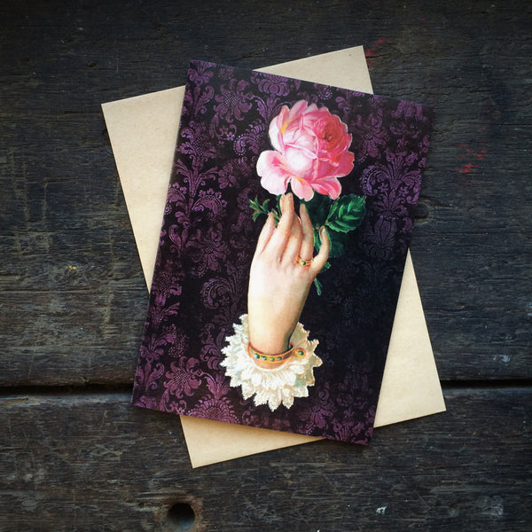 Gothic Romance Hand with Pink Rose, Luxury greeting card.