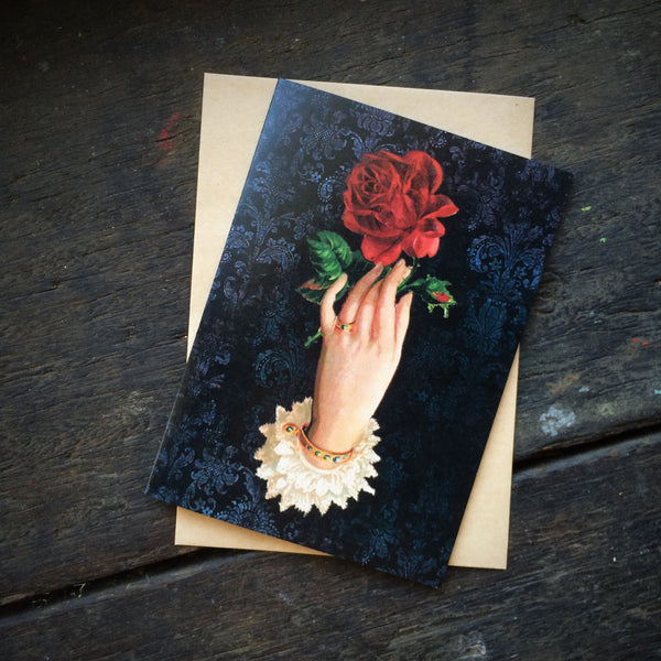 Gothic Romance Hand with Red Rose, Luxury greeting card.