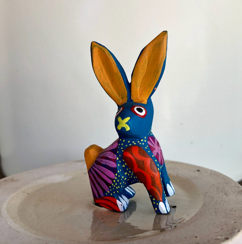 Orange Ear Bunny Alebrije  - Small