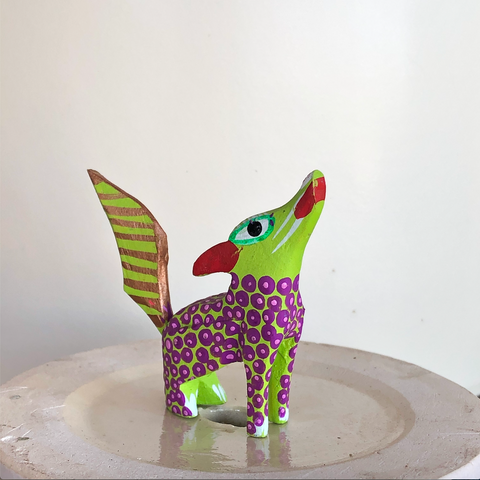 Spotted Green Wolf Alebrije - Small