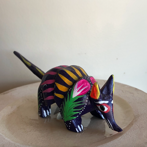 Purple Armadillo Alebrije - Small