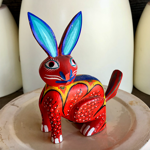 Blue Ear Jack Rabbit Alebrije - Medium
