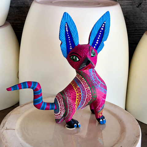 Pink Sphinx Cat Alebrije - Medium