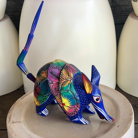 Blue Armadillo Alebrije - Medium