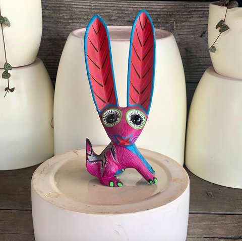 Pink Jack Rabbit Alebrije - Large