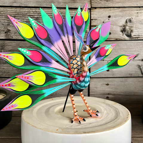 Colorful Peacock Alebrije - XLarge