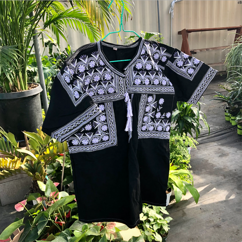 Hand Embroidered Floral Tlahuitoltepec Short Sleeve Women's Blouse