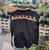 Hand Embroidered Floral Tlahuitoltepec Long Sleeve Men's Button Up