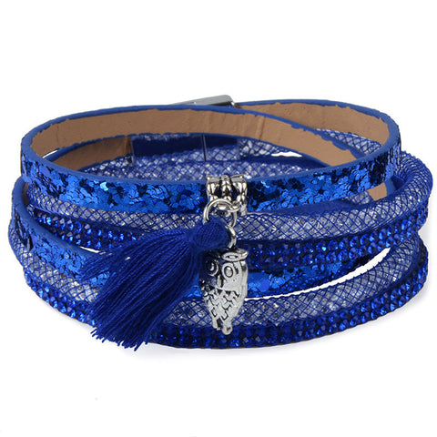 Rhinestone Feather Wide Multilayer Leather Bracelet - Pretty Little Owls
