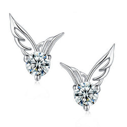 Angel Wings Crystal Ear Stud Earrings - Pretty Little Owls