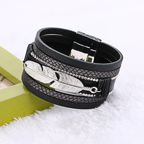 Feather Leaves Multilayer Wide Leather Bracelets - Pretty Little Owls