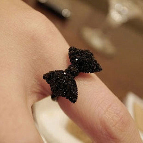 R067 Anillos Cute Black Rhinestone Butterfly Bow Ring - Pretty Little Owls