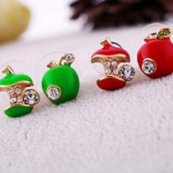Apple Rhinestone Earrings - Pretty Little Owls