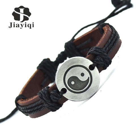 Jiayiqi Vintage Leather Bracelet New Hot Women Handmade Twine Bracelet Genuine Leather Cuff Bracelet For Women Men Jewelry - Pretty Little Owls