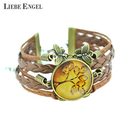 Life Tree Galaxy Cabochon Leather Bracelet - Pretty Little Owls
