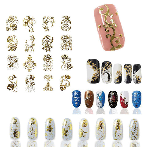 Hot Gold 3D Nail Art Stickers Decals,108pcs/sheet Top Quality Metallic Flowers Mixed Designs Nail Tips Accessory Decoration Tool - Pretty Little Owls