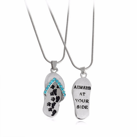 """Always At Your Side"" Paw Print Flip Flop Sandal Pendant Necklace - Pretty Little Owls"
