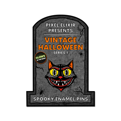 Creepshire Cat Vintage Halloween Enamel Pin - Dystopian Designs