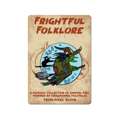 Frightful Folklore Flying Witch Enamel Pin - Dystopian Designs