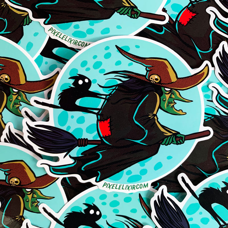 "Frightful Folklore Flying Witch 4"" Vinyl Sticker - Dystopian Designs"