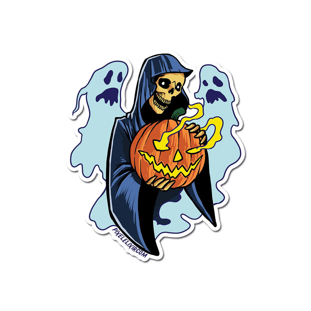 "Frightful Folklore Halloween Reaper 4"" Vinyl Sticker"