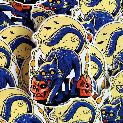 "Frightful Folklore Spooky Cat 4"" Vinyl Sticker - Dystopian Designs"