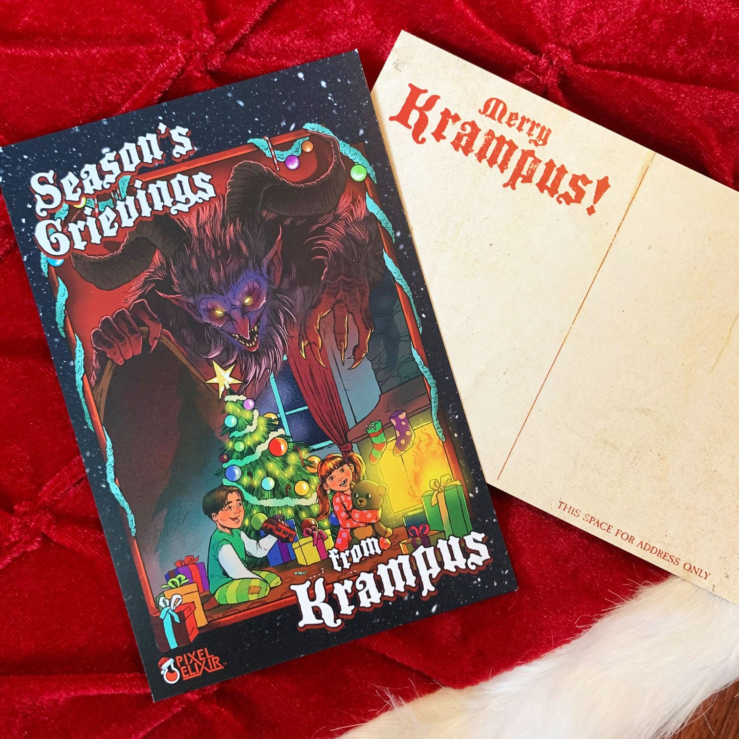 Season's Grievings From Krampus Postcard