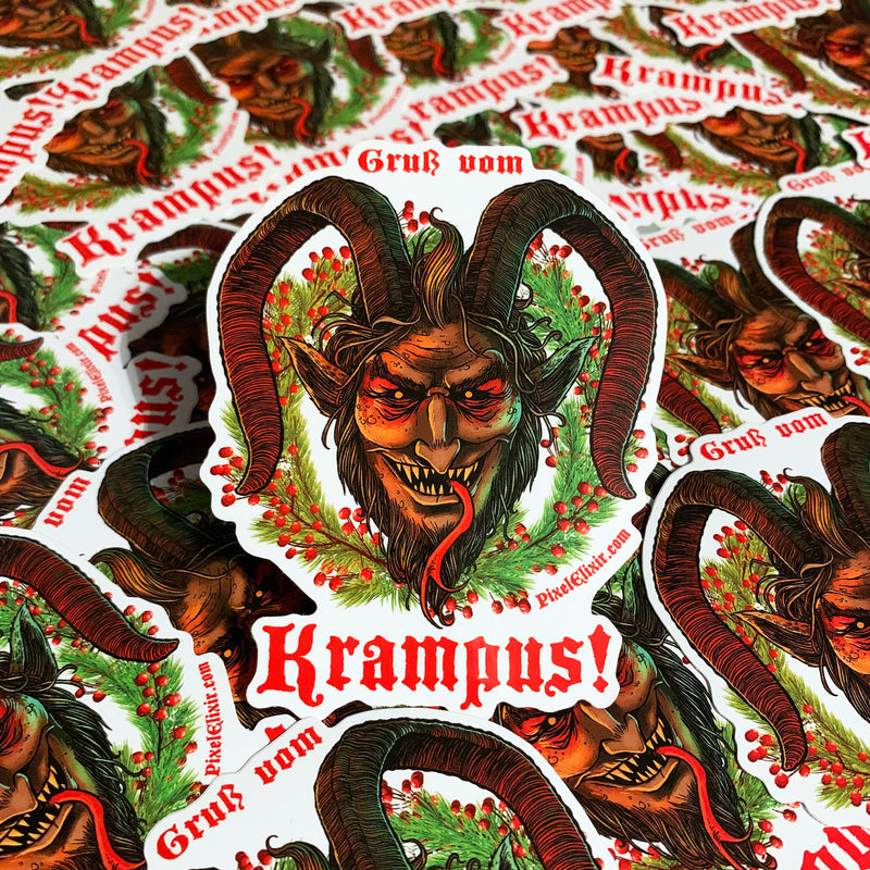 Krampus Vinyl Sticker - Dystopian Designs