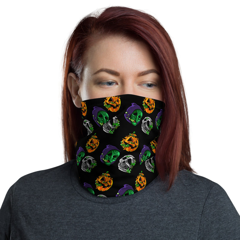 "Radballs ""Happy Halloween"" Face Mask/Neck Gaiter - Black - Dystopian Designs"