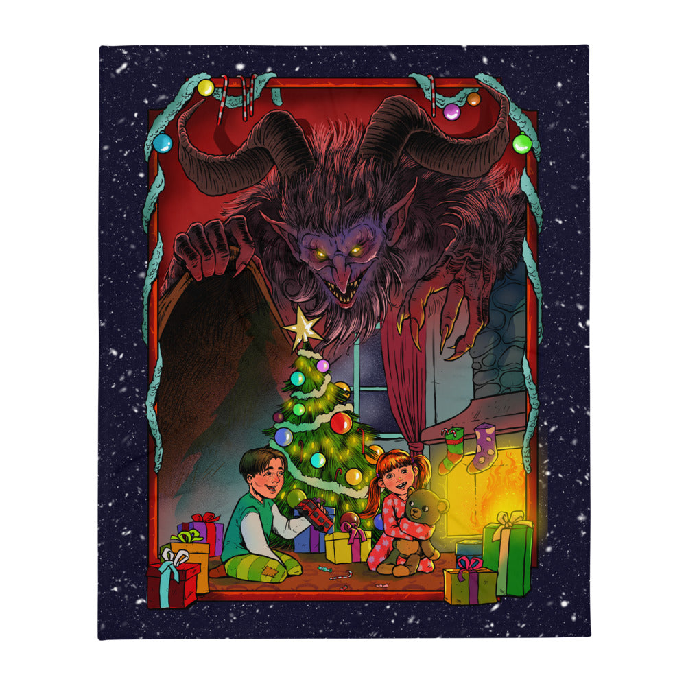 Season's Grievings From Krampus Throw Blanket