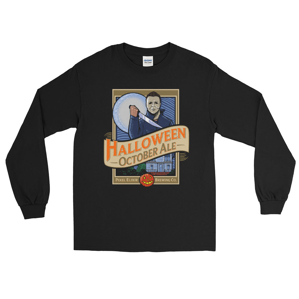 Halloween October Ale Long Sleeve T-Shirt - Midnight Black - Dystopian Designs