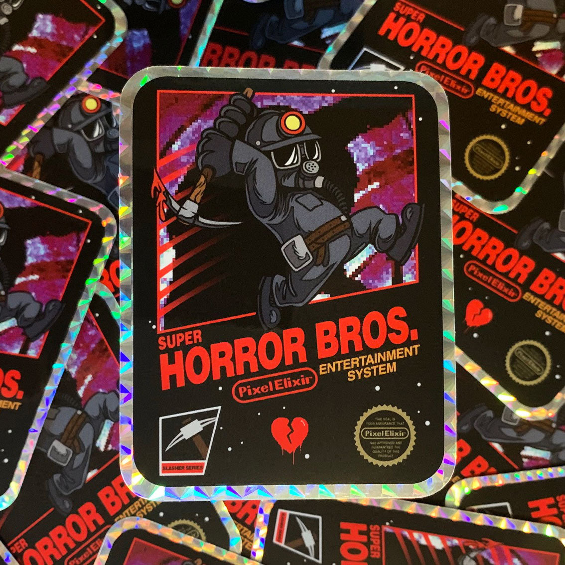 Super Horror Bros. Miner Prism Sticker