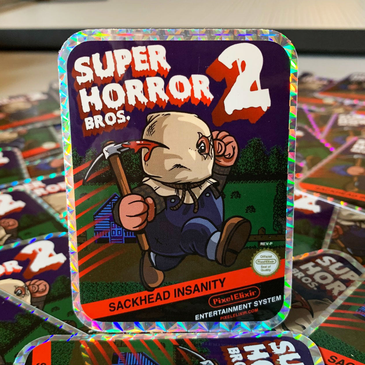 Super Horror Bros. 2 Hologram Sticker - Dystopian Designs