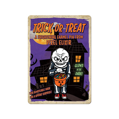 Trick or Treat Enamel Pin w/ Magnetic Mask - Dystopian Designs