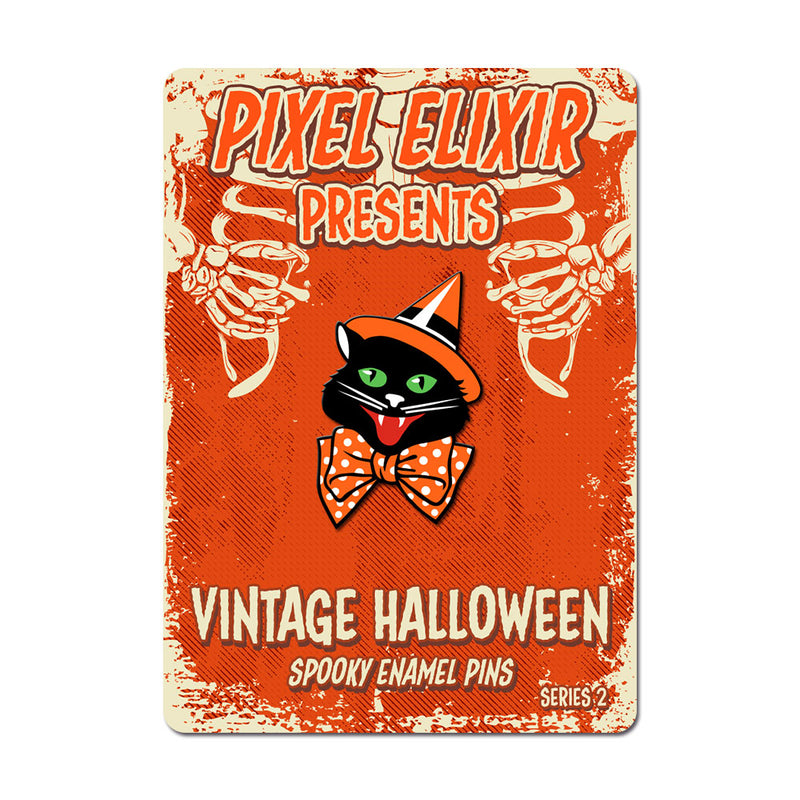 Vintage Halloween Party Cat Enamel Pin - Dystopian Designs