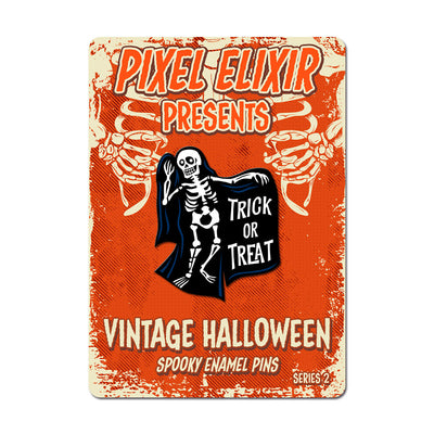 Vintage Halloween Skeleton Enamel Pin - Dystopian Designs