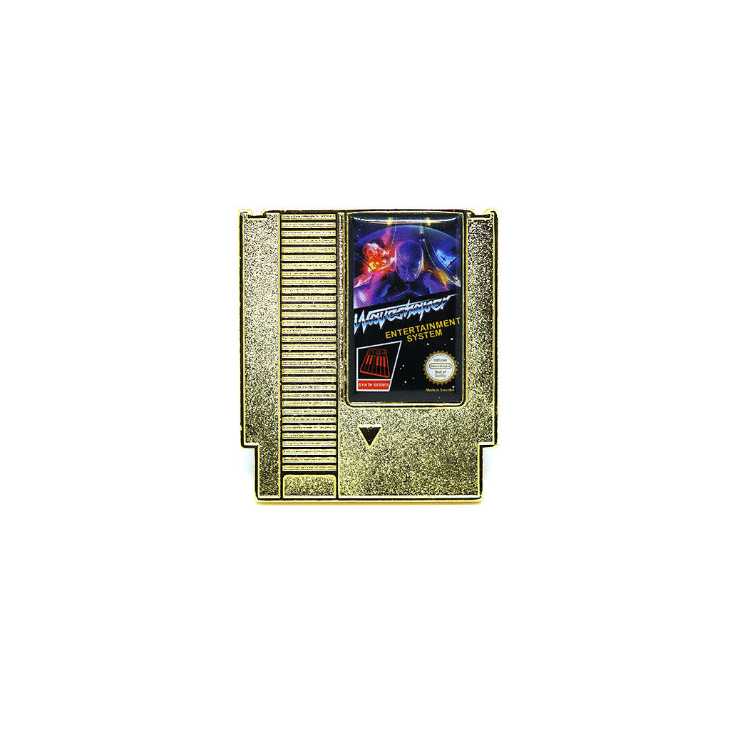 Waveshaper Synthwave NES Cartridge Gold Enamel Pin