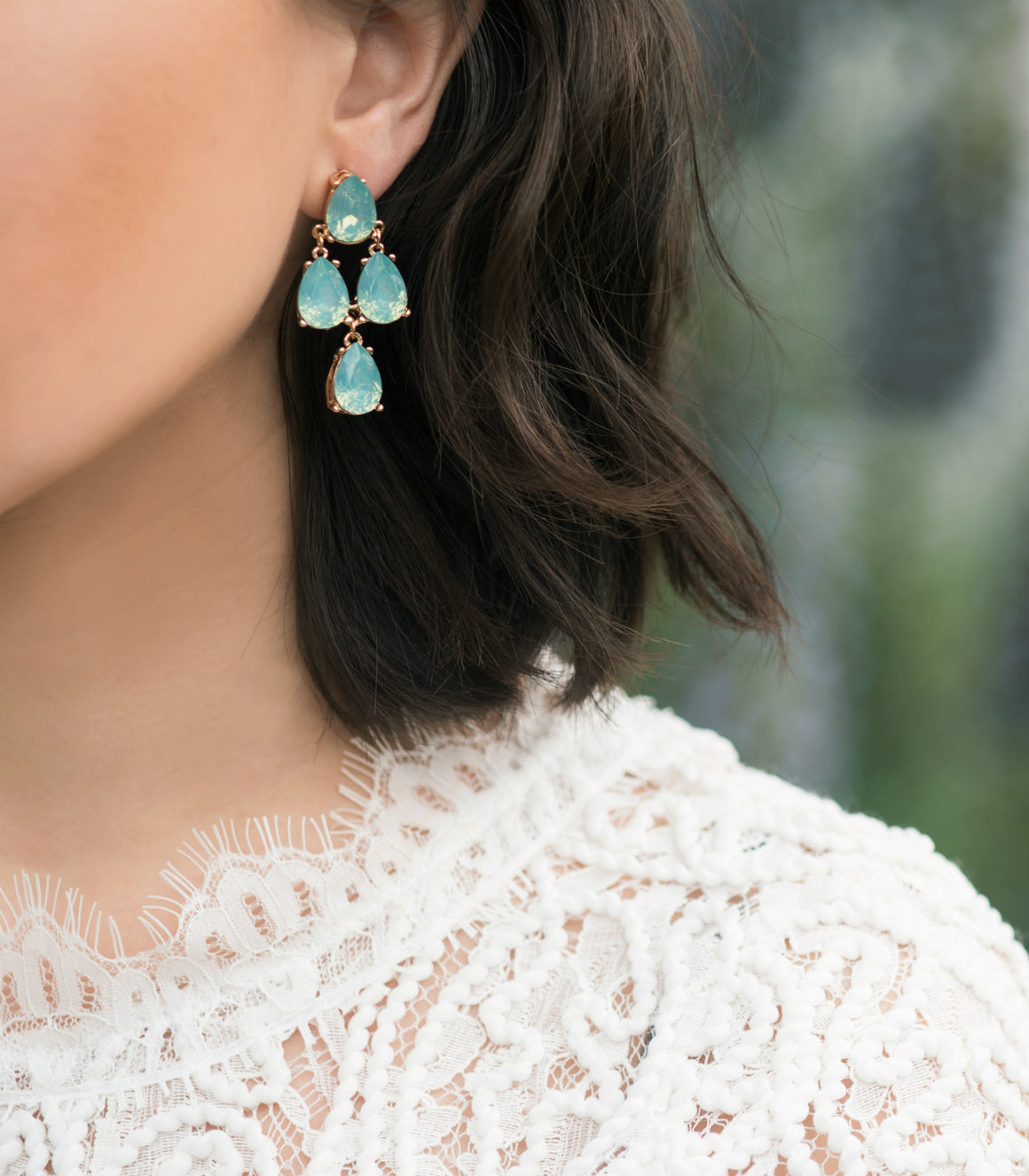 Opalescent Teardrop Cascade Statement Earrings