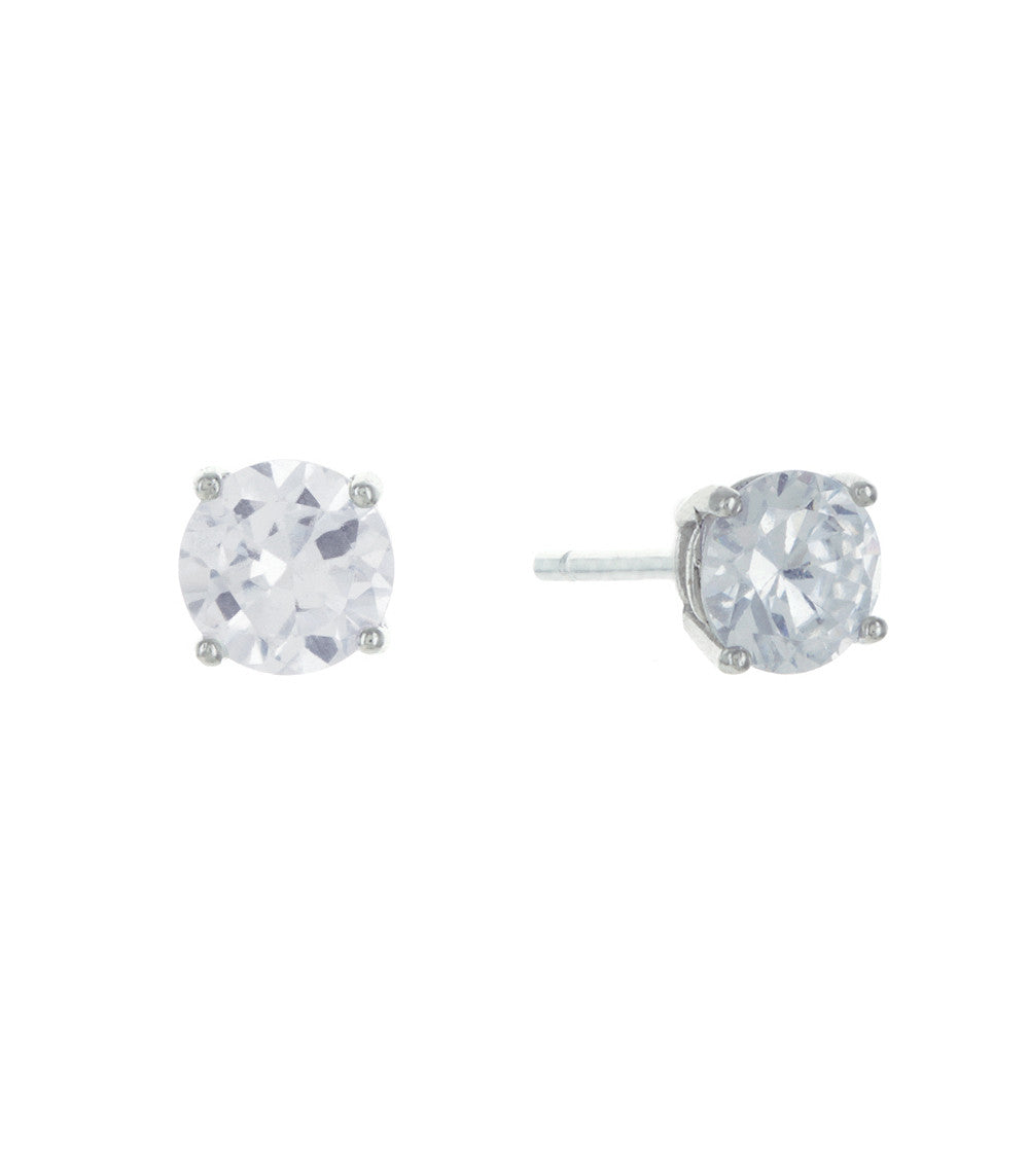 Sterling Silver Classic Cubic Zirconia Stud Earrings