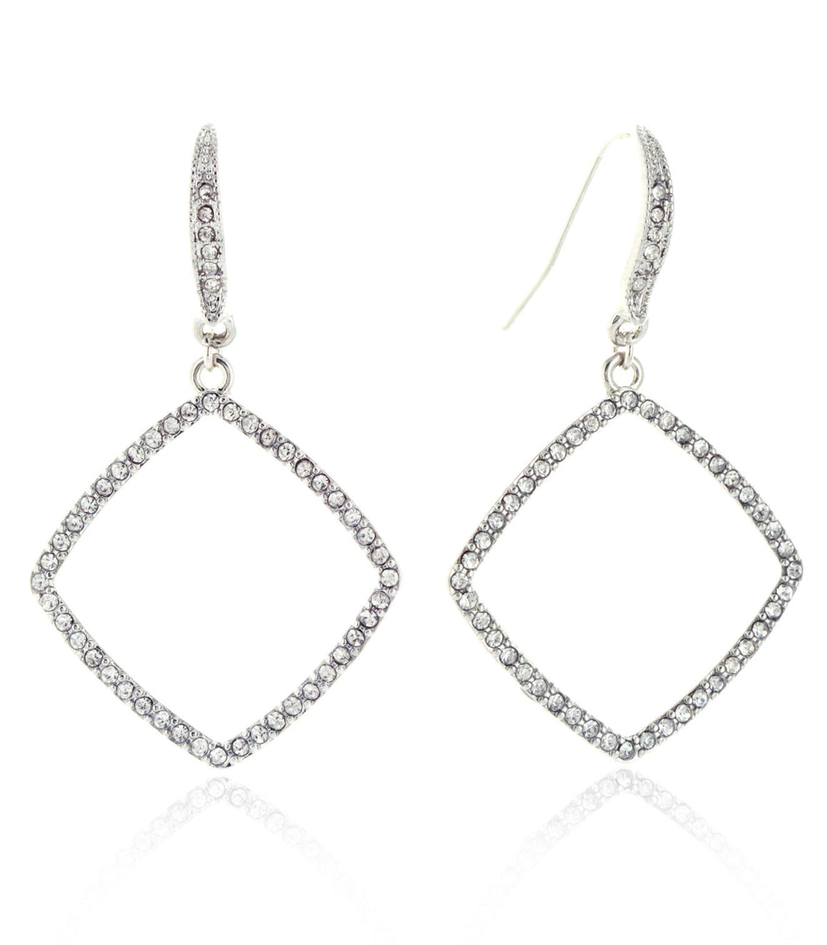 Open cut rhinestne pave square fish hook earrings.