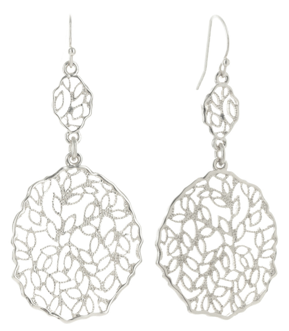 Climbing Vines Filigree Medallion Dangle Earrings