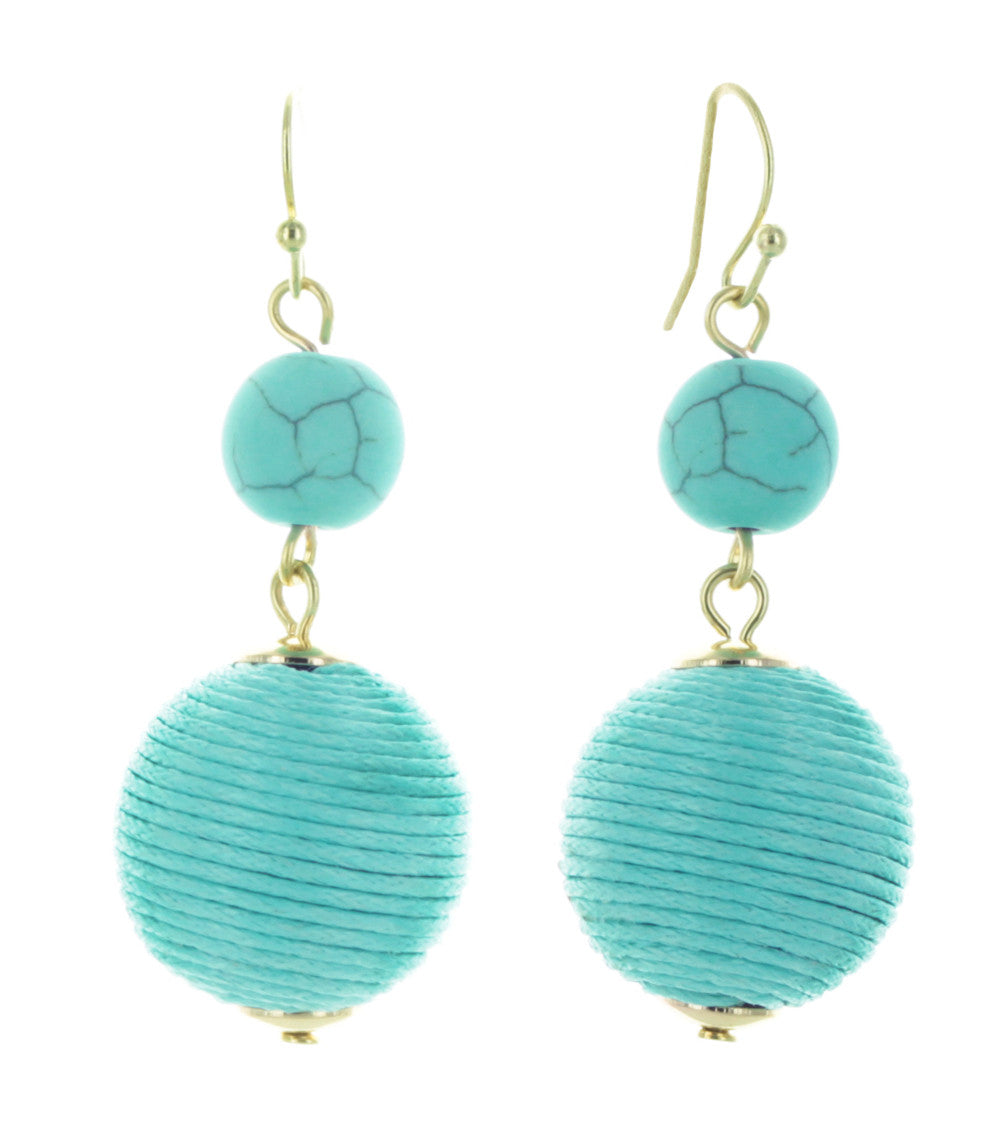Tropez Stone & Thread Ball Drop Earrings