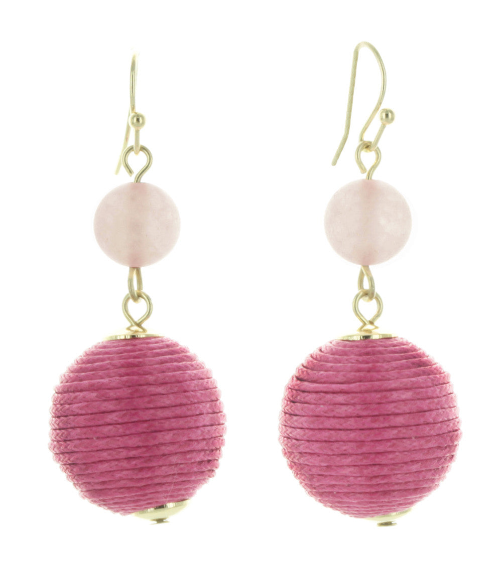 Tropez Stone and Thread Ball Drop Earrings