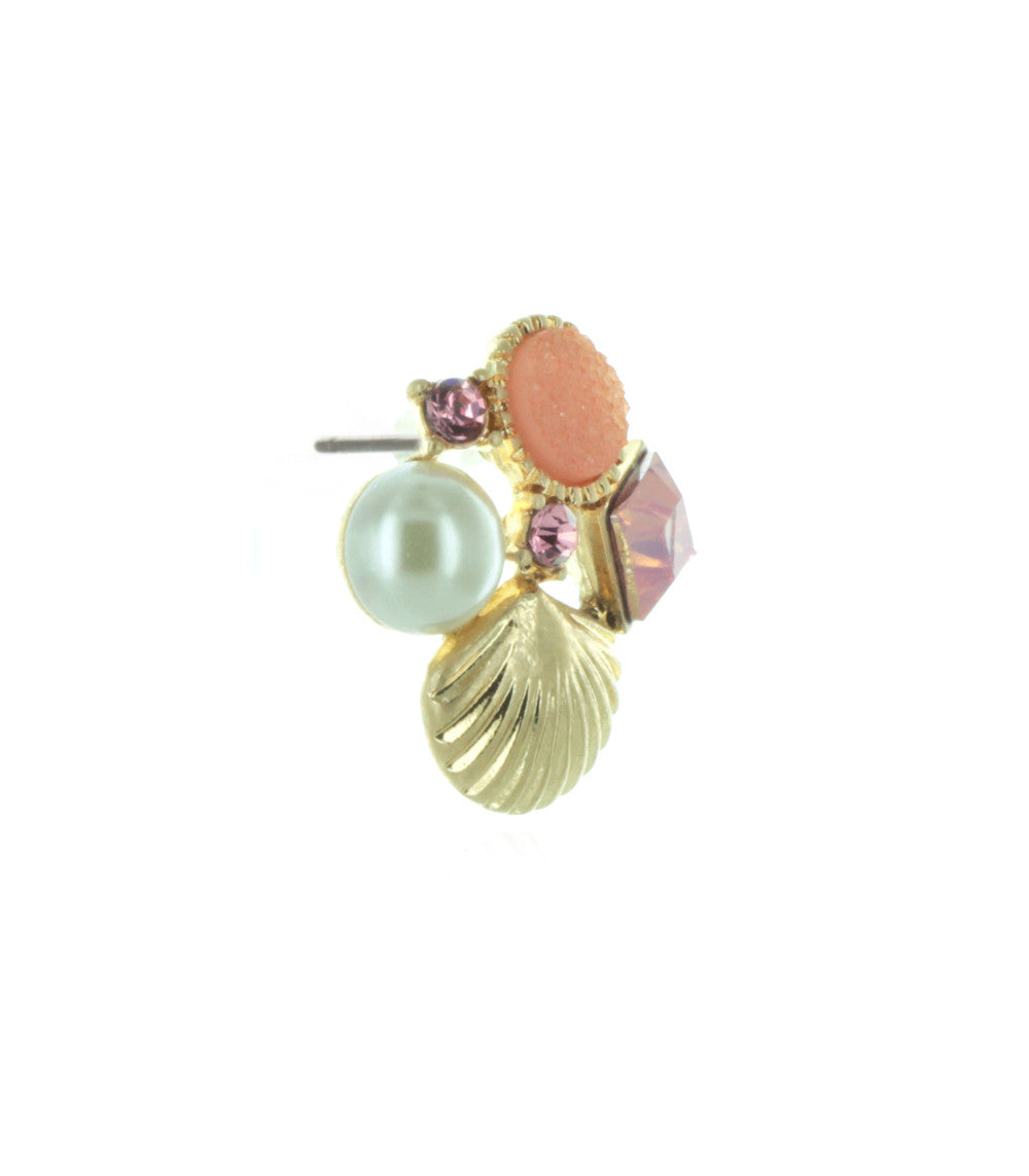 Sea Siren Jeweled  Seashell Stud Earrings in Pink